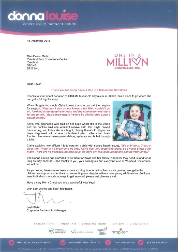 Letter displaying the team raised £398.29 for charity